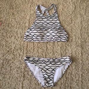 Wavy High Neck Bikini Set